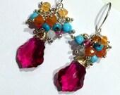 Hot Pink Earring Gemstone Cluster Earring Sterling Silver Swarovski Crystal Colorful Gemstone Cluster Petite Earring DoolittleJewelry