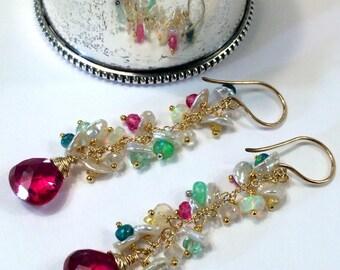Red Earrings Colorful Opal Earring Gold Fill Chain Dangle Boho Earring Pastel Keishi Pearl Cluster Multicolor Opal Sapphire Earring