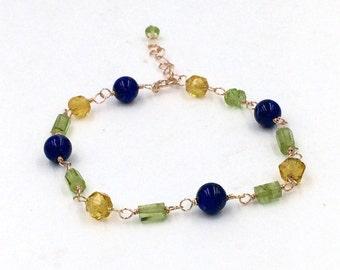 Peridot Rose Gold Fill Bracelet Wire Wrap Peridot Bracelet Adjustable Layering Bracelet August Birthstone  Blue Lapis Green Gemstone