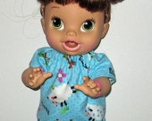 Corolle Tidoo Or Calin Doll Clothes  Baby Alive All Gone Doll Clothes  12 or 13 inch Doll Clothes Baaa Lamb Pajamas