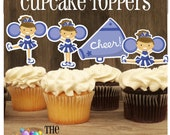 Cheer Party - Set of 12 Assorted Cheerleaders Cupcake Toppers in Blue by The Birthday House