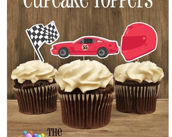 Race Car Party - Set of Double Sided Assorted 12 Red Race Car Toppers by The Birthday House