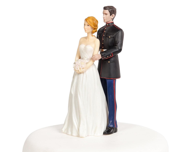 Marine Wedding Cake Topper Caucasian Bride And Groom
