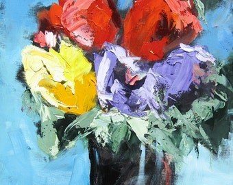 Textured Impasto Palette Knife Oil Painting of a Big Bright Flower Arrangement, Still Life 20 x 20
