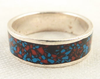 SALE --- Size 9.75 Vintage Sterling Band Ring with Colorful Flecked Enamel Inlay