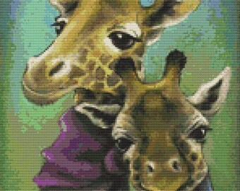 Small Modern Art Cross Stitch Kit By Tanya Bond 'Hipster Giraffes'- Counted CrossStitch