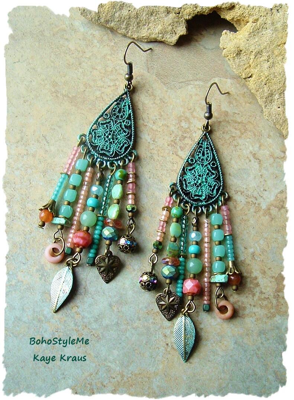 Bohemian Style Jewelry Boho Gypsy Assemblage Earrings