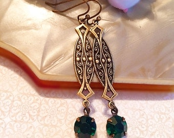 Emerald Art Deco Jewelry - Best Gifts for Mom - Emerald Earrings - ZELDA Emerald