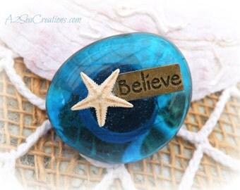 Seaside Glass Stone Starfish Magnet