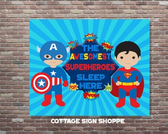 Brothers Superhero Bedroom, The Awesomest Superheroes Sleep Here, INSTANT DOWNLOAD, Brothers Bedroom Decor, Brothers Bedroom Art