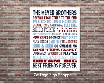 Brothers Sign,Boys Decor,Brothers Wall Art, Brothers, DIGITAL,YOU PRINT, Brothers Room Decor, Custom Brothers Art, Personalized Brothers Art