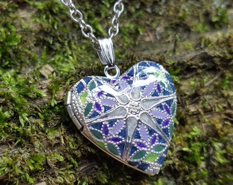 Silver, Plated, Filigree Heart, Memory Locket, Essential Oil Locket, Colorful Enameled Polymer & Resin, Bridesmaids Unique Gift