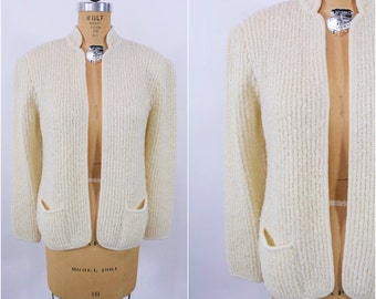 1980s open sweater | cream open pocketed cardigan sweater jacket | vintage 80s cardigan | W 44""