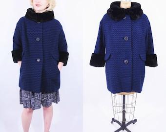 1960s tweed coat | royal blue black fur collar wool tweed mod coat | vintage 60s coat