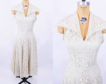 1950s lace dress | off white lace halter large collar party dress | vintage 50s dress | W 26""