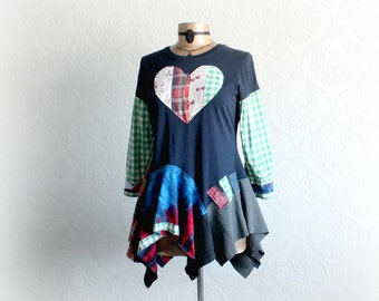Upcycled Hippie Top Boho Women's Shirt Mori Girl Clothing Art Fashion Tattered Gypsy Altered Clothes Colorful Tunic Fabric Layers M 'BLYTHE'