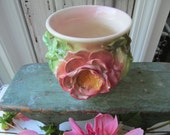 SPECIAL ORDER for Jody  ( 1/2 paid on etsy )  Cabbage Rose Ginger Jar Shaped Vase