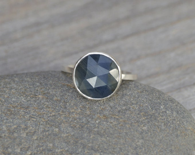Rose Cut Sapphire Ring, Over 2.5ct Sapphire Ring, Something Blue Wedding Gift