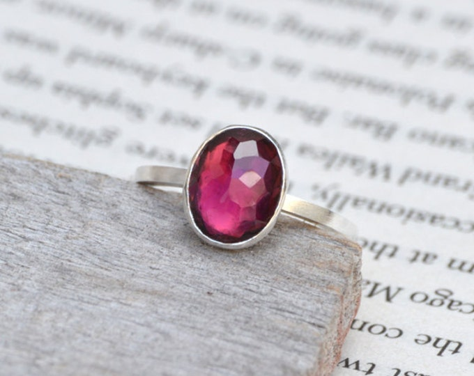 Rose Cut Tourmaline Ring, Oval Tourmaline Ring, 1.58ct Tourmaline Engagement Ring In Red-Violet