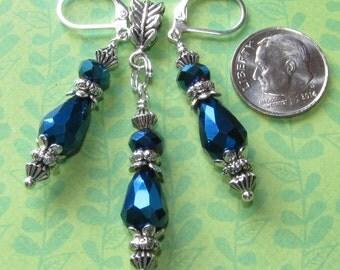 TEARDROP Metallic Midnight Blue Silver Plated Lever Back Earrings Pendant Set