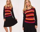 Vintage 70s STRIPED Knit Dress Long Sleeve SKATER Dress HIPSTER Midi Dress