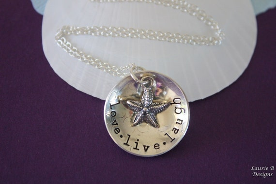 Live Love Laugh Necklace Sterling Silver, Inspirational Words, Name Charm, Starfish Charm