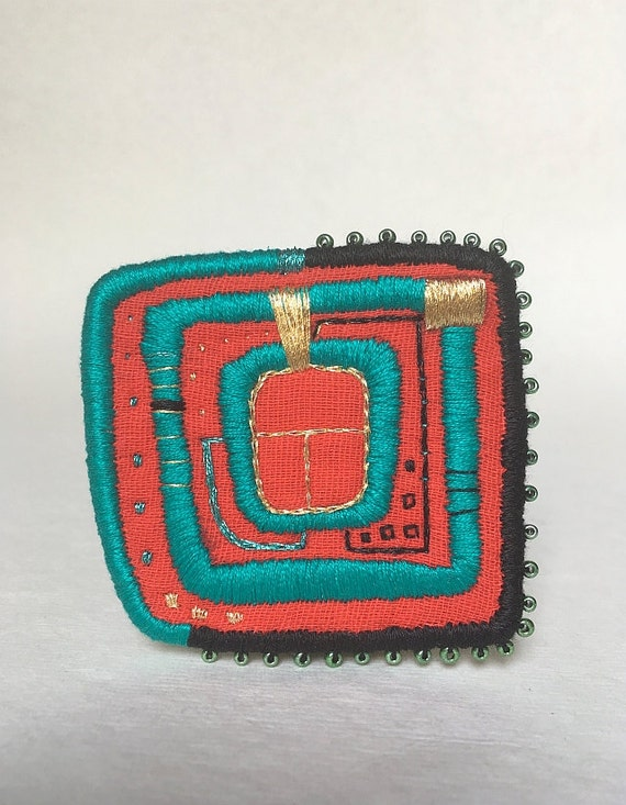 Textile Brooch - Hundertwasser Window. Hand embroidered wearable art. Embroidered brooch, patch