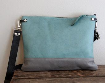 Aqua Teal Blue and Grey Leather Purse Clutch