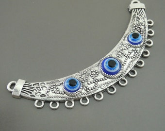 Cresent Moon Evil Eye Pendant Antique Silver Tribal Connector Ornate Necklace Finding Ethnic Jewelry Component