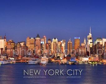 New York City NYC Skyline DUSK Midtown Manhattan Panoramic Photo Poster Cityscape