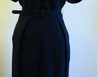 "1940's, 36"" bust, midnight blue, rayon crepe dress"