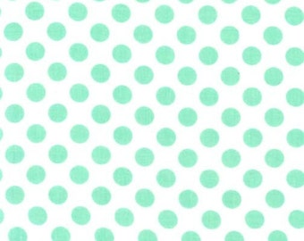 Ta Dot Sprout Fabric - Michael Miller Fabric - Mint Dot Fabric - Michael Miller Discontinued - Polka Mint Green Dot - White Mint Dot Fabric