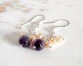 Amethyst Earrings with Peach Pearls, Sterling Silver Earrings, Handmade Chain Drop Earrings, Cluster Earrings, Long Dangle Earrings