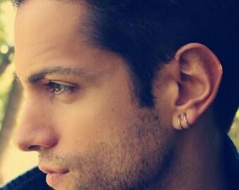 Mens silver hoop earrings, gentleman earrings in sterling silver, simple hoop, casual earrings for guys, seamless hoop, masculine earrings