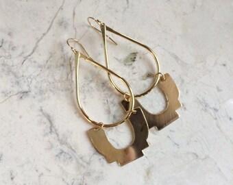Step and Curve Chandeliers No.1 .Long Brass Chandeliers. Statement Earrings. Modern Shapes. Gold Hoop Earrings. Teardrop Earrings. Bold.
