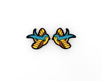 Chubby Lil Swallow Tattoo Earrings In Blue and Gold