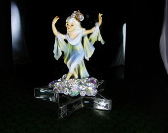 Tiffany & Co Star Art Deco Figurine Vintage Lefton Dancing moon Girl Signed Large Glass star BRILLIANT Magical Nymph Gift for mothers day