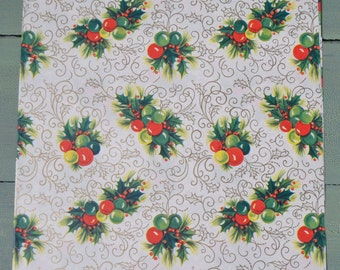 Vintage Red Green Ornaments Holly Gold Swirls Christmas Gift Wrap Full Sheet