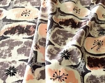 50s Atomic Mid Mod Barkcloth Fabric// Waverly Carlsbad Design// Cotton Yardage// Light Upholstery-Drapery?/ Home Decor// Apparel// 8 Panels
