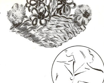 Flower Basket Brooch Vintage Pattern 197