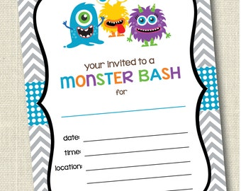 Printable Monster Invitations . Instant Download Monster Bash Invitation