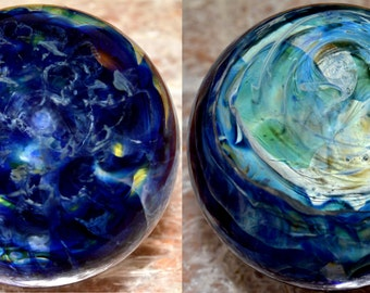 Exquisite Honeycomb Ether Fire Marble in Blue Moon and Cobalt  - Handblown Glass