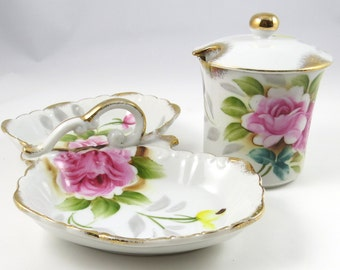 Vintage Jam Pot and Nut Dish, 2 pc Set, Butterfly Shaped, Handle, Rose Flowers, Soap dish, Toothbrush Holder, Cottage Chic Home Decor