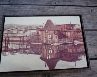 Vintage Photograph Sausalito Houseboat West Pier Floating Home Framed 1970s Counter Culture Sepia Tone Nautical Some