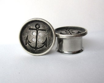 """Pair of Silver Anchor Button Plugs - Sailor Gauges - Beach - 1/2"""", 9/16"""", 5/8"""", 3/4"""", 7/8"""", 1"""" (12mm, 14mm, 16mm, 19mm, 22mm, 25mm)"""