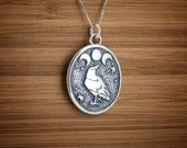 Raven and Triple Moon - STERLING SILVER - (Pendant, or Necklace)