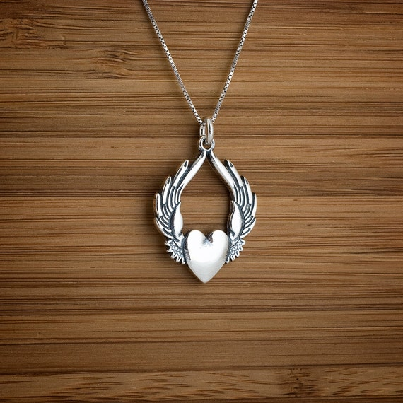 Flying Heart Pendant - STERLING SILVER - (Pendant, Necklace, or Earrings)