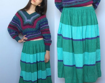 tea for two -- vintage 80s bold striped linen and cotton circle skirt M/L