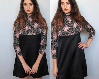 the victoria dress -- vintage 70s floral and black mini dress S