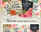 """Printable download BIBLE VERSES TAGS No.4 Scripture Art 2.5""""x3.5"""" size hang tags digital collage sheet greeting cards ArtCult designs"""